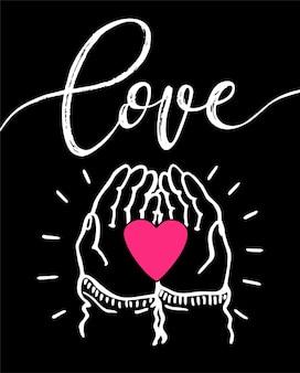 Hand met een hart, geef en deel liefdesconcept deel je liefde voor valentijnsdag in het moderne