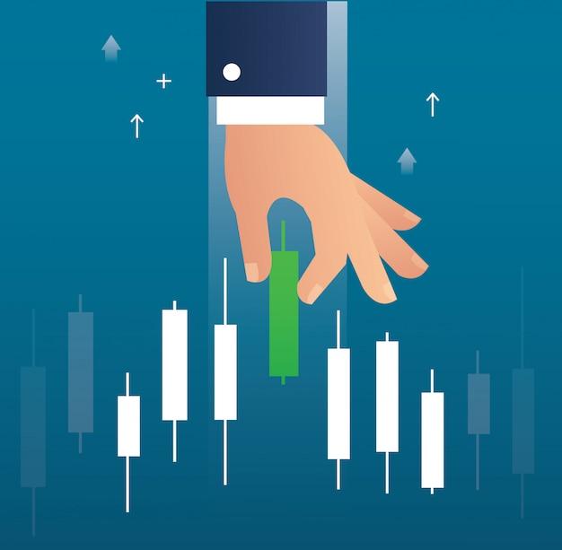 Hand met een kandelaar grafiek aandelenmarkt