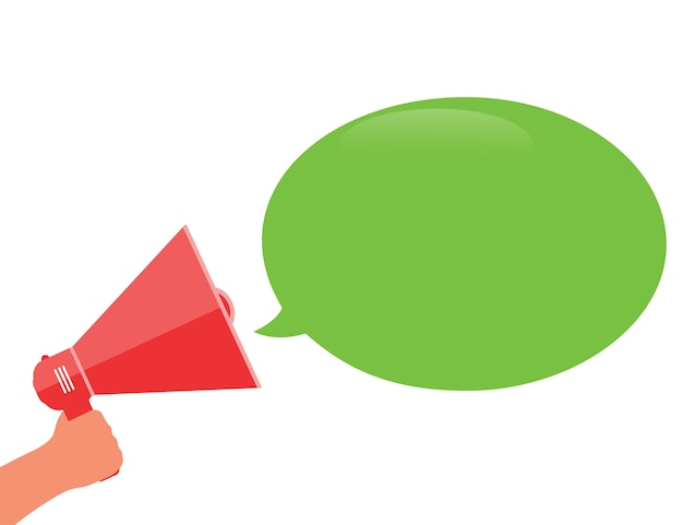 Hand met een rode megafoon met groene tekstballon