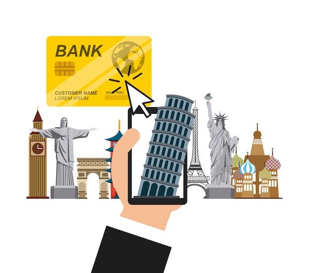Hand met een smartphone en iconische monumenten van de wereld