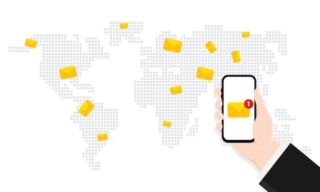 Hand met een smartphone met letterpictogram op het scherm