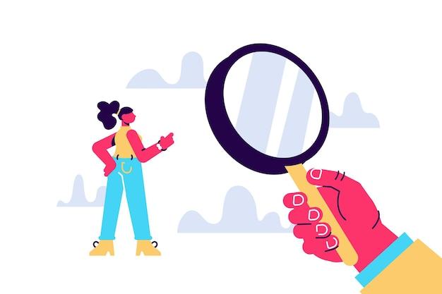 Hand met een vergrootglas schaal hr-management op zoek naar een werknemer conceptuele zaken illustratie