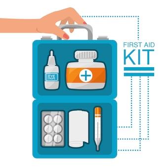 Hand met ehbo-kit met medische hulpmiddelen
