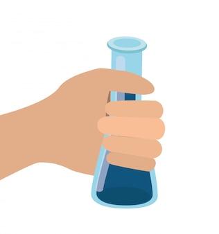 Hand met geïsoleerde laboratoriuminstrumenten