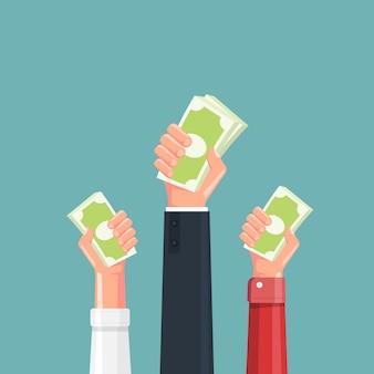 Hand met geld illustratie