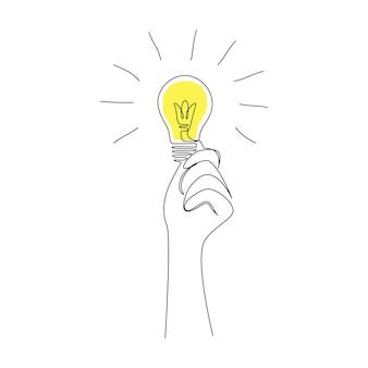 Hand met gloeilamp in één doorlopende lijntekening voor concept van creatieve geest en succesvol idee. doodle handgetekende vectorillustratie