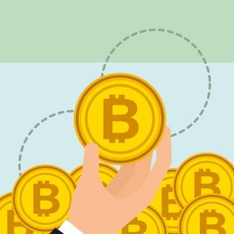 Hand met gouden bitcoin cryptocurrency