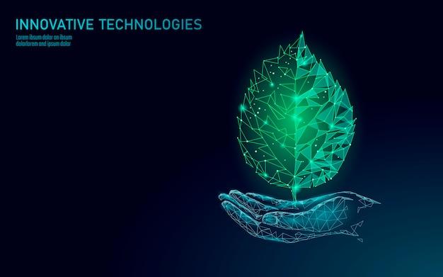 Hand met groene plant blad ecologische abstract concept. red de planeet