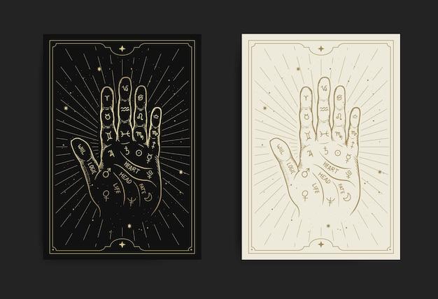 Hand met handlijnkunde diagram met gravure, handgetekend, luxe, esoterisch, boho-stijl, geschikt voor paranormaal, tarotlezer, waarzegster, astroloog of tatoeage