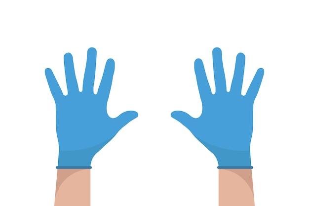 Hand met handschoenen. latex handschoenen vector. voorzorg pictogram. medische apparatuur plat ontwerp. gezondheidszorg.