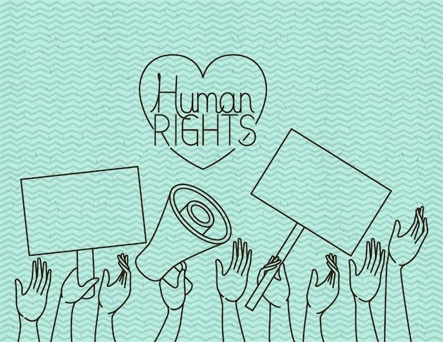 Hand met hart mensenrechten getekend