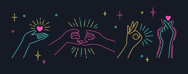 Hand met hart. vinger liefde symbool, handen gebaren