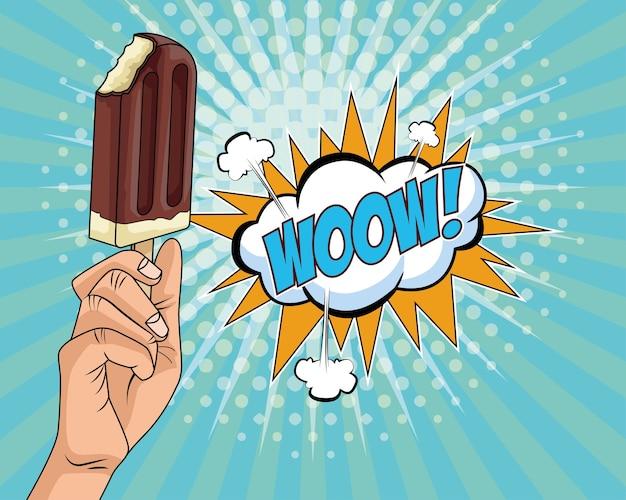 Hand met heerlijk ijs in pop-artstijl van de stok