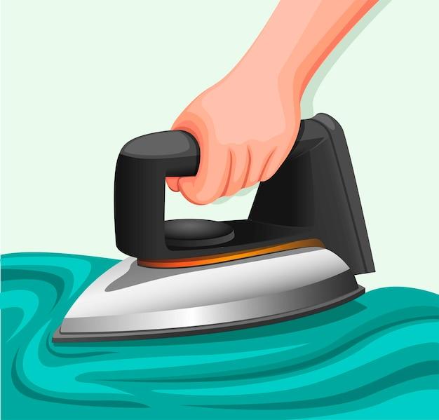 Hand met ijzeren wasserij, strijkdoek met elektrisch strijkijzer stoom concept in cartoon realistische illustratie vector geïsoleerd