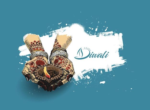 Hand met indiase olielamp - diya, diwali festival, hand getrokken schets vectorillustratie.
