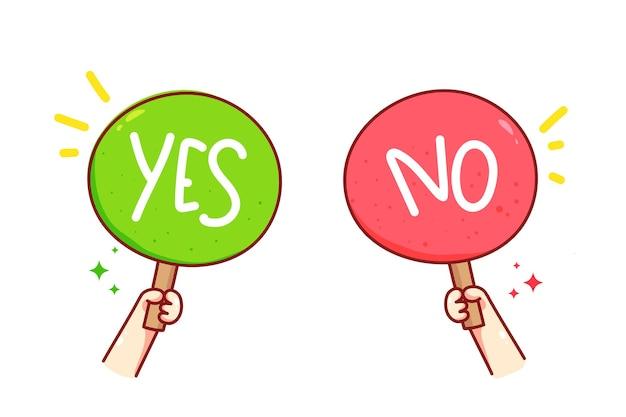 Hand met ja of nee teken vector kunst illustratie