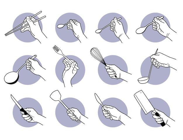 Hand met keukengerei en kookgerei.