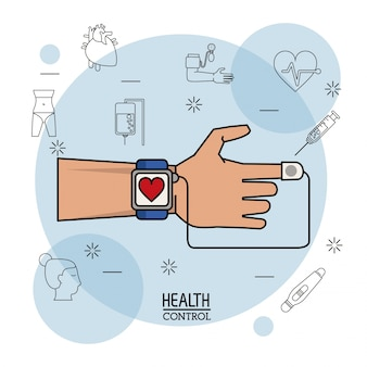 Hand met kleurrijke horloge pulse monitor in close-up