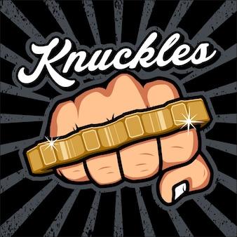 Hand met knuckles illustratie, logo,