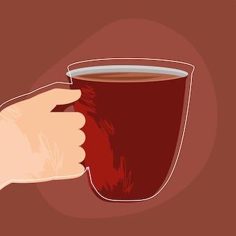 Hand met koffie in mok