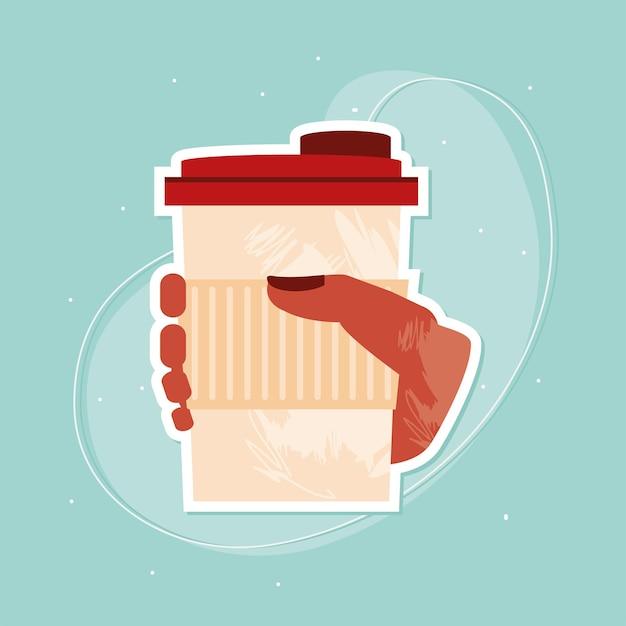 Hand met koffie in wegwerp