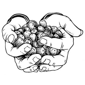 Hand met koffiebonen