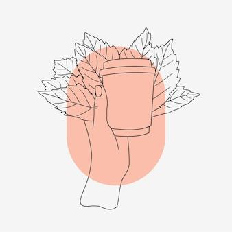 Hand met kopje koffie en bladeren in lijn kunststijl
