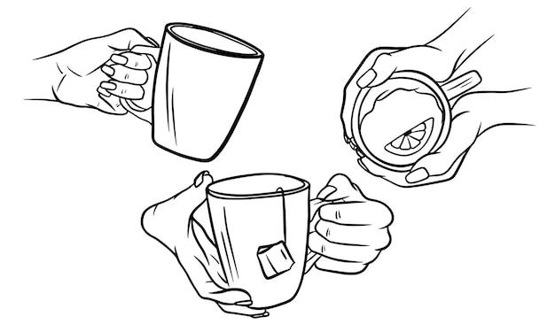Hand met kopje thee hand tekenen illustratie in zwart-wit