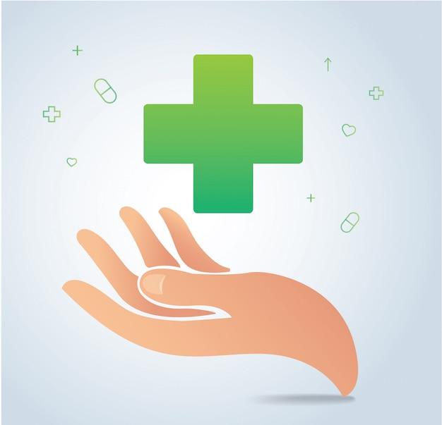Hand met medische pictogram