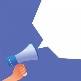 Hand met megafoon met ballon chat op blauwe achtergrond