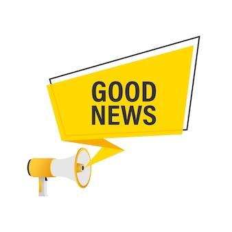 Hand met megafoon met goed nieuws
