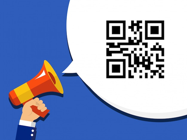 Hand met megafoon met qr-code gecodeerde verkoopinformatie in bellentoespraak. pictogram op popart achtergrond