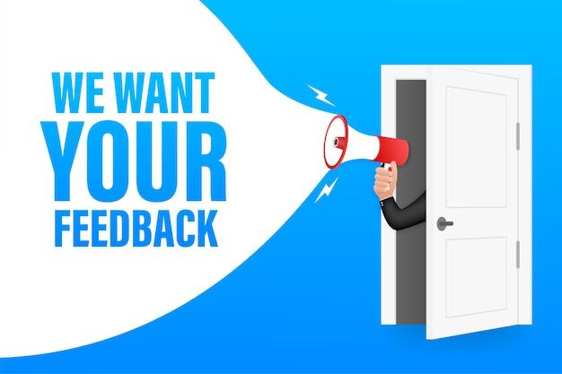 Hand met megafoon met we willen uw feedback. megafoon banner.
