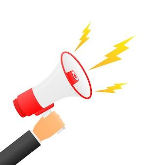 Hand met megafoon motiverende poster sjabloon voor spandoek flat kleurrijk trekken grafische aandacht