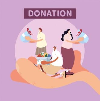 Hand met mensen symbool van liefdadigheidsschenking