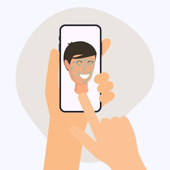 Hand met mobiele slimme telefoon met app voor gezichtsherkenning