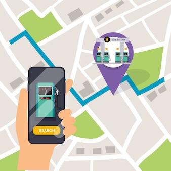 Hand met mobiele slimme telefoon met applicatie zoeken benzinestation. vind het dichtstbijzijnde op de plattegrond van de stad.
