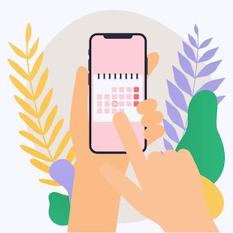 Hand met mobiele slimme telefoon met kalenderplan