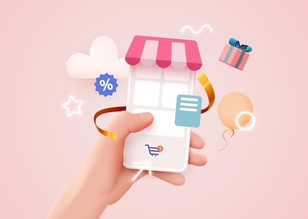Hand met mobiele slimme telefoon met shopp-app