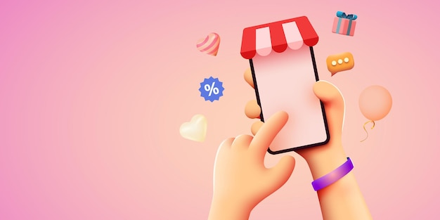 Hand met mobiele smartphone met shopp app online winkelconcept Premium Vector