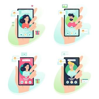 Hand met mobiele telefoon met avatar van de persoon op het scherm