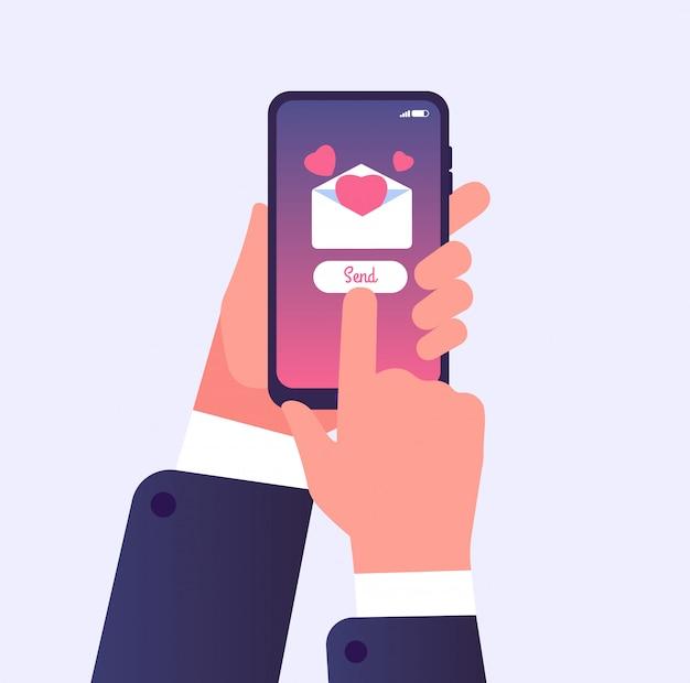 Hand met mobiele telefoon met hart op scherm