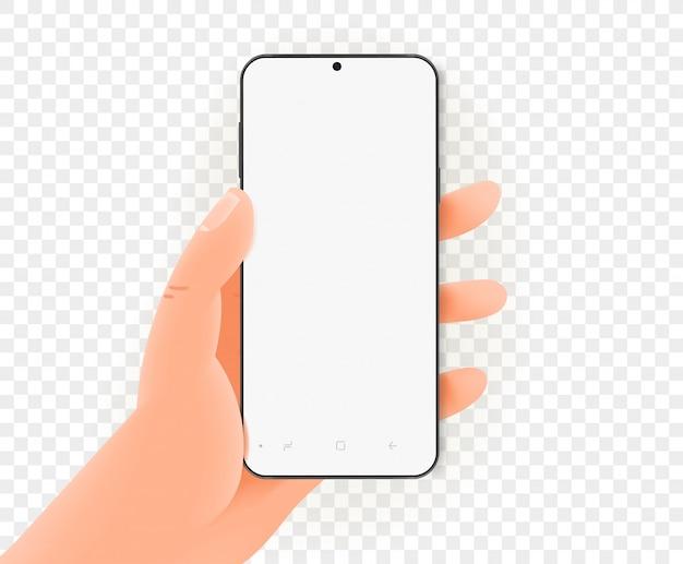 Hand met moderne smartphone met leeg scherm.