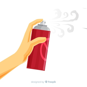 Hand met mug spray in platte ontwerp