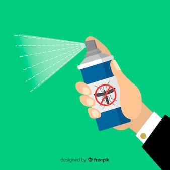 Hand met mug spray in vlakke stijl