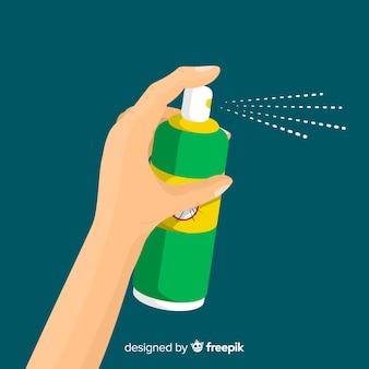 Hand met muggenspray