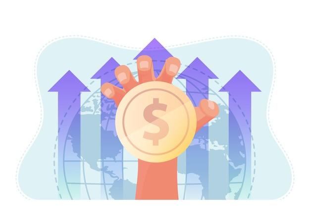 Hand met munt met wereld en stijgende grafiek achtergrond. wereldwijd bedrijfs- en financieel concept.