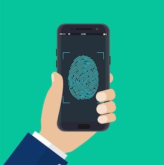 Hand met ontgrendelde mobiele telefoon