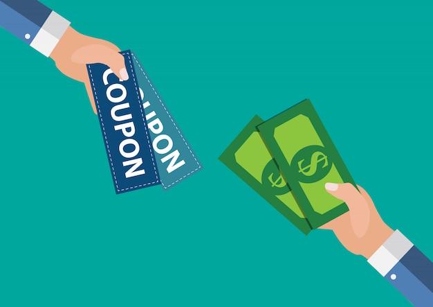 Hand met papieren coupons plat ontwerp. cadeau, cadeaubon