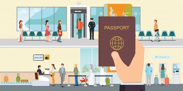 Hand met paspoort boek en instapkaart.